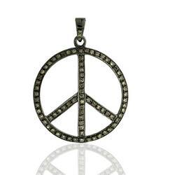 Diamond Studded Peace Pendant