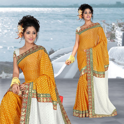 Orange Viscose Saree With Blouse