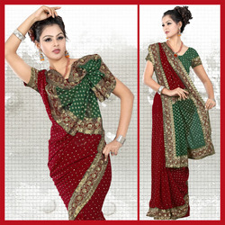 Maroon Faux Georgette Saree With Blouse (34)