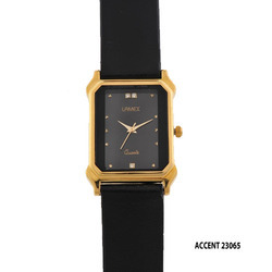 Men's Black Leather Band Watch