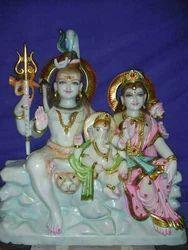 Shankar Parvati and Ganesh Ji Marble Idol