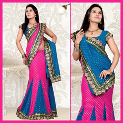 Pink Viscose Lehenga Style Saree With Blouse (113)