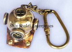 Brass Diving Helmet Keychain