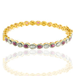14k gold rose cut diamond bangles
