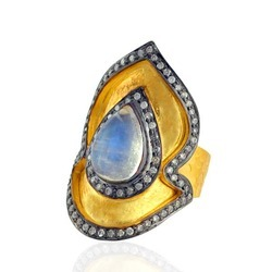 Rainbow moonstone Drop shaped pave diamond ring