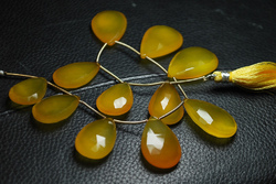 Yellow Color Chalcedony Faceted Large Pear Briolettes