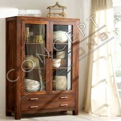 Sheesham Wood Glass Cabinet