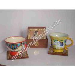 Teak Wood Painting Coaster and Tea Set