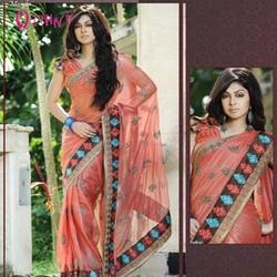 Orange Border Saree