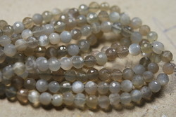 Grey Moonstone Faceted Round Rondelles
