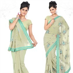 Beige Faux Georgette Saree With Blouse