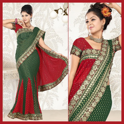 Deep Green Viscose Lehenga Style Saree With Blouse (03)