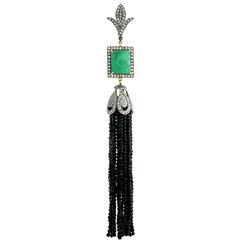 Black Spinal Beads Tassel Pendant Jewelry