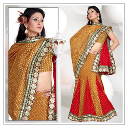 Persian Orange Viscose Lehenga Saree With Blouse (193)