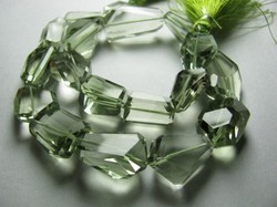 Brazil Green Amethyst Faceted Step Nuggets
