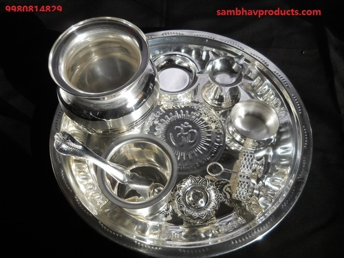 New Lakshmi Pooja Set & Puja Accessories - Silver Plated Pooja Set Manufacturer from Bengaluru