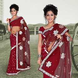 Romantic Red Faux Georgette Saree With Blouse