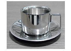 Stainless Steel DW Pearl Cup & Saucer