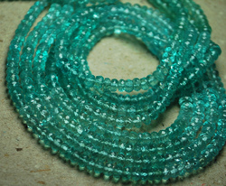 Green Apatite Faceted Rondelles Round Briolettes