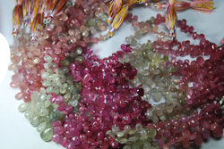 Multi Sapphire Faceted Pear Gemstone Briolettes