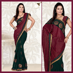 Deep Green Faux Georgette Saree With Blouse (107)