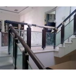 Designer Stainless Steel and Wood Railing