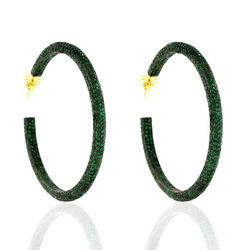 Precious Gemstone Hoop Earrings