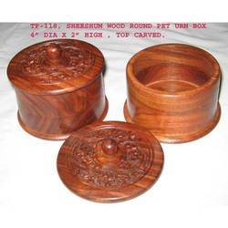 Round Carved Pet Urn Box
