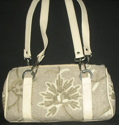 Crewel Handbag Tree of Life Neutrals on Natural Brown Linen