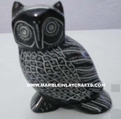 Black Marble Owl Statue