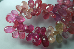 Multi Sapphire Faceted Pear Briolettes