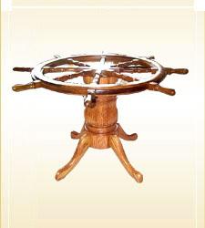 Ship Wheel Pedestal Table