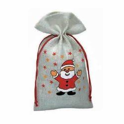 Jute Christmas Drawstring Bag