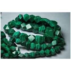 Natural Malachite Faceted Long Cube Nuggets