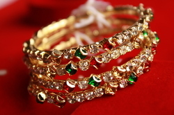 Gold Plated Colored Bangles