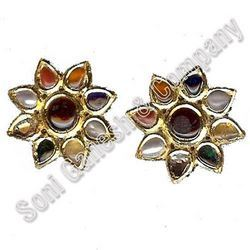 Kundan Gold Meena Earrings