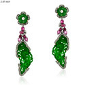 18k gold carved gemstone diamond earrings