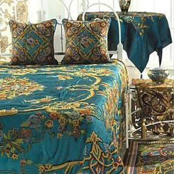 Crewel Bedding Art Nouveau Turquoise Cotton Viscose Velvet