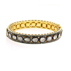 18k Yellow Gold Pave Rose Cut Diamond Bangles