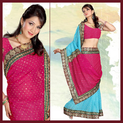 Sky Blue Viscose Saree With Blouse (147)