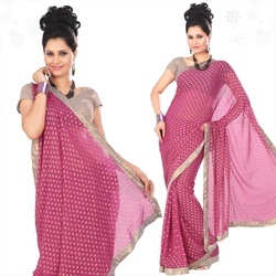 Deep Pink Viscose Saree With Blouse