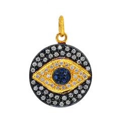 diamond blue sapphire disc pendant jewelry