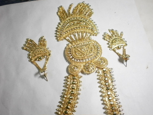 Gold Plated Necklace, Earring & Pair Bridal...