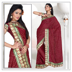 Magical Maroon Viscose Saree With Blouse (198)
