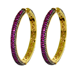 Ruby Hoop Earrings Jewellery