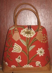 Crewel Grapes Exotic Red Tote