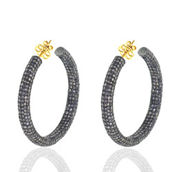 Fashionable Diamond Hoop Earrings
