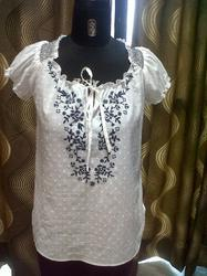 Contrast Embroidery Top In Swiss Dot