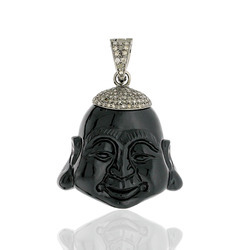 Buddha shaped black Onyx diamond Pendants