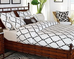 Crewel Bedding Irongate Black on White Cotton Duvet Cover